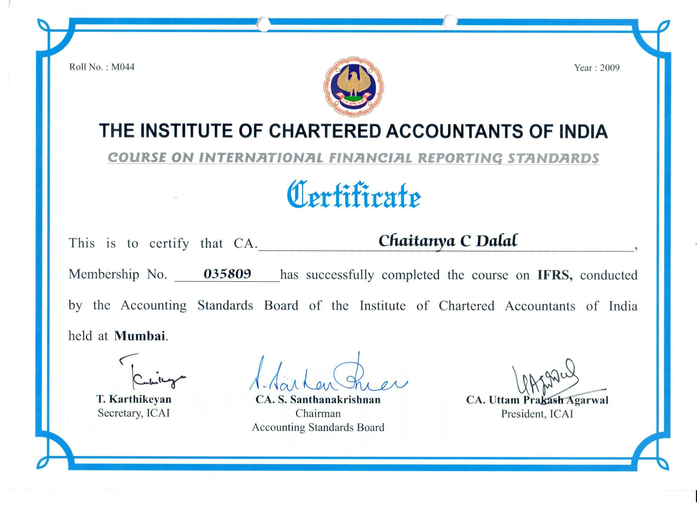Caccd certificate of a c a certificate of membership certificate of f c a certificate of ifrs xflitez Image collections